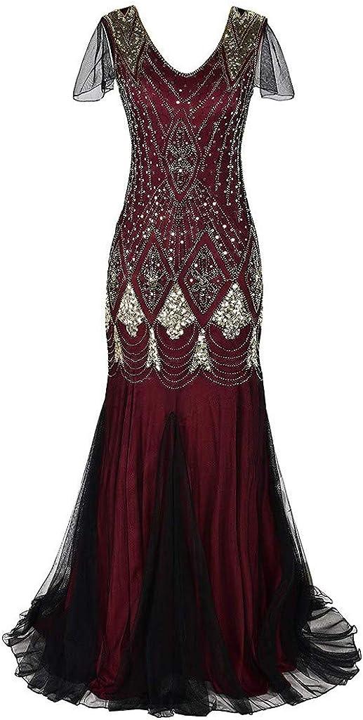 iLOOSKR Vintage Womens Fringe Sequin Dress Lace Sleeveless Party Baffle Cocktail Dress