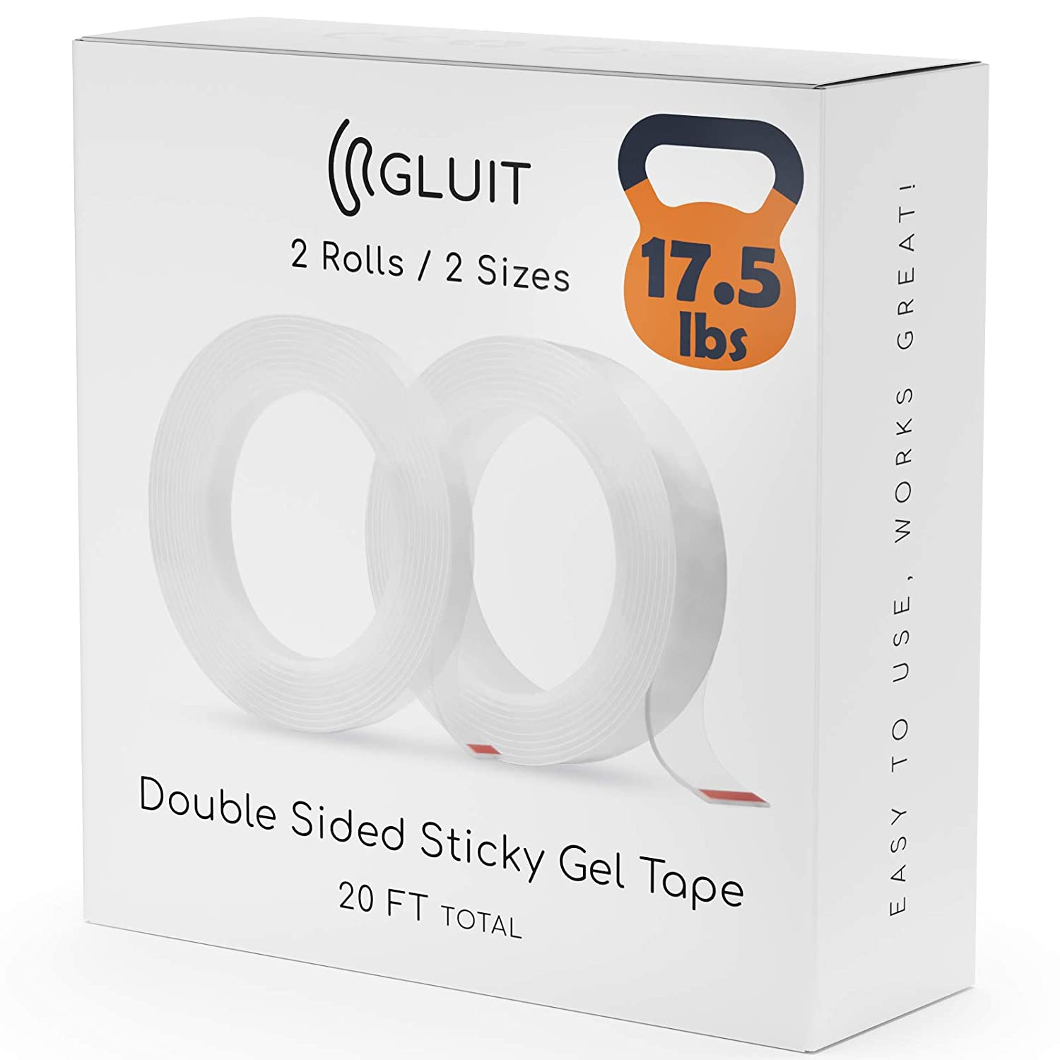 GLUIT Premium Double Sided Tape Heavy Duty 17.5 lbs Reusable Adhesive Removable Washable Multipurpose Mounting Tape Gel Grip Tape Carpet Tape for Home Office Kitchen Car Poster 2 Rolls 20 FT