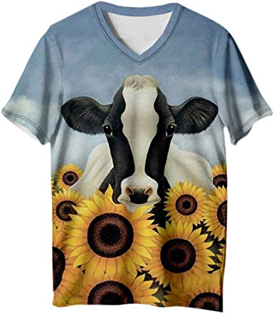 Womens 3D Animal Print Short Sleeve T-Shirt Blouse Casual Loose Tops Plus Size