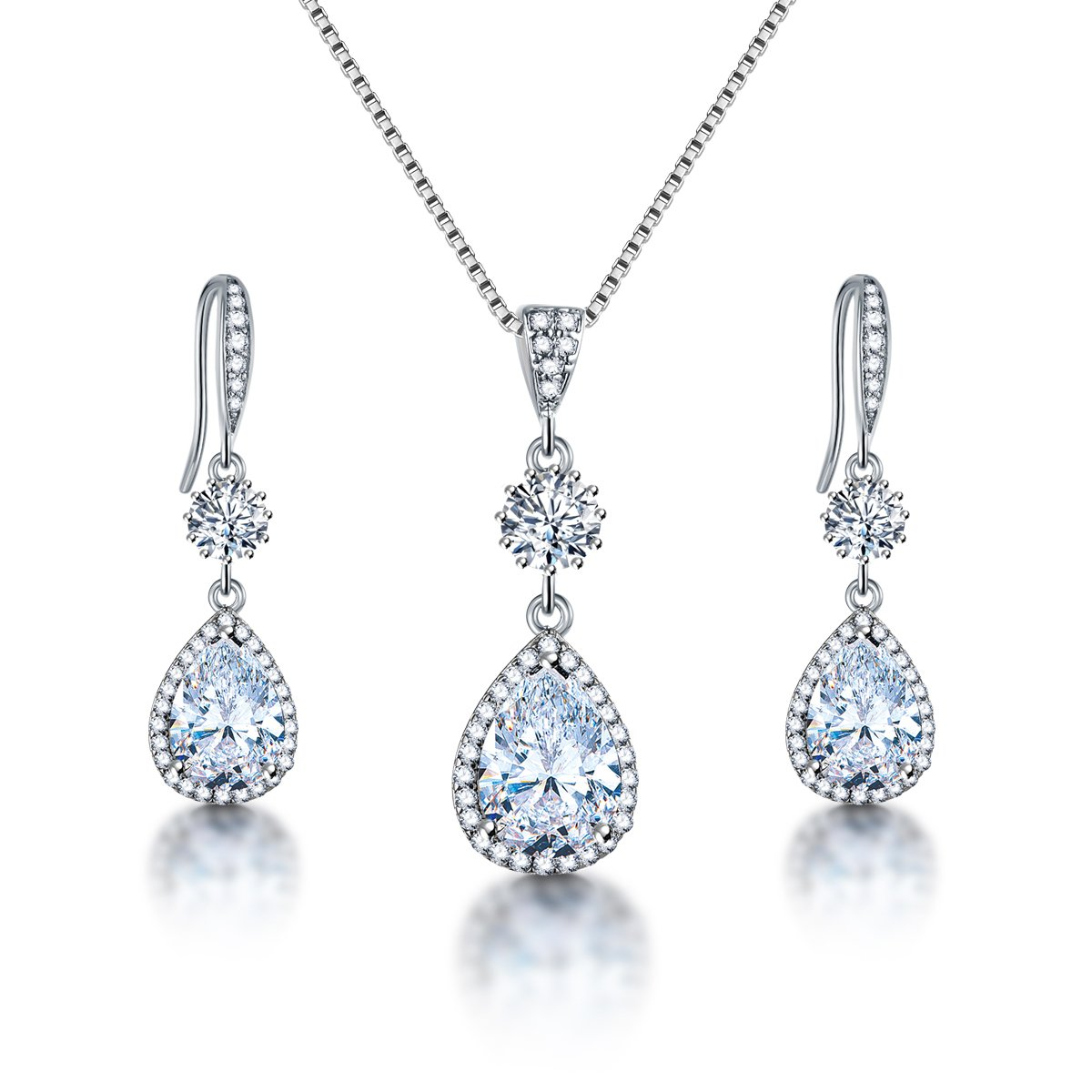 04838333c AMYJANE Elegant Jewelry Set for Women - Silver Teardrop Clear Cubic  Zirconia Crystal Rhinestone Drop Earrings and Necklace Bridal Jewelry Sets  Best Gift for ...
