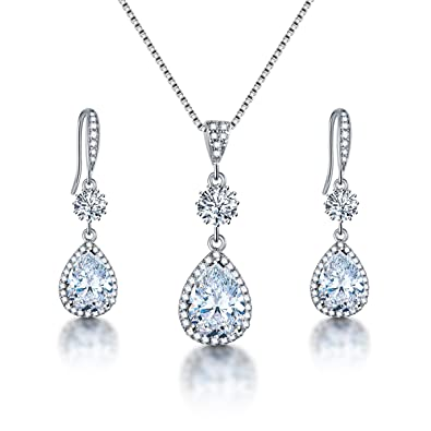 AMYJANE Bridal Jewelry Set for Wedding - Teardrop Silver Cubic Zirconia Crystal  Drop Earrings and Necklace 453d2f02c5