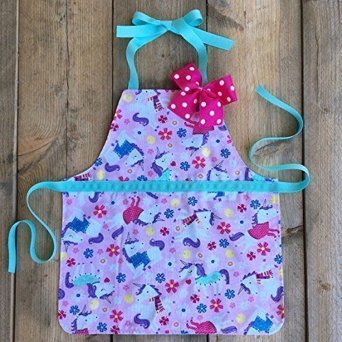 Handmade unicorns polkadot reversible play apron for toddlers by Sara Sews