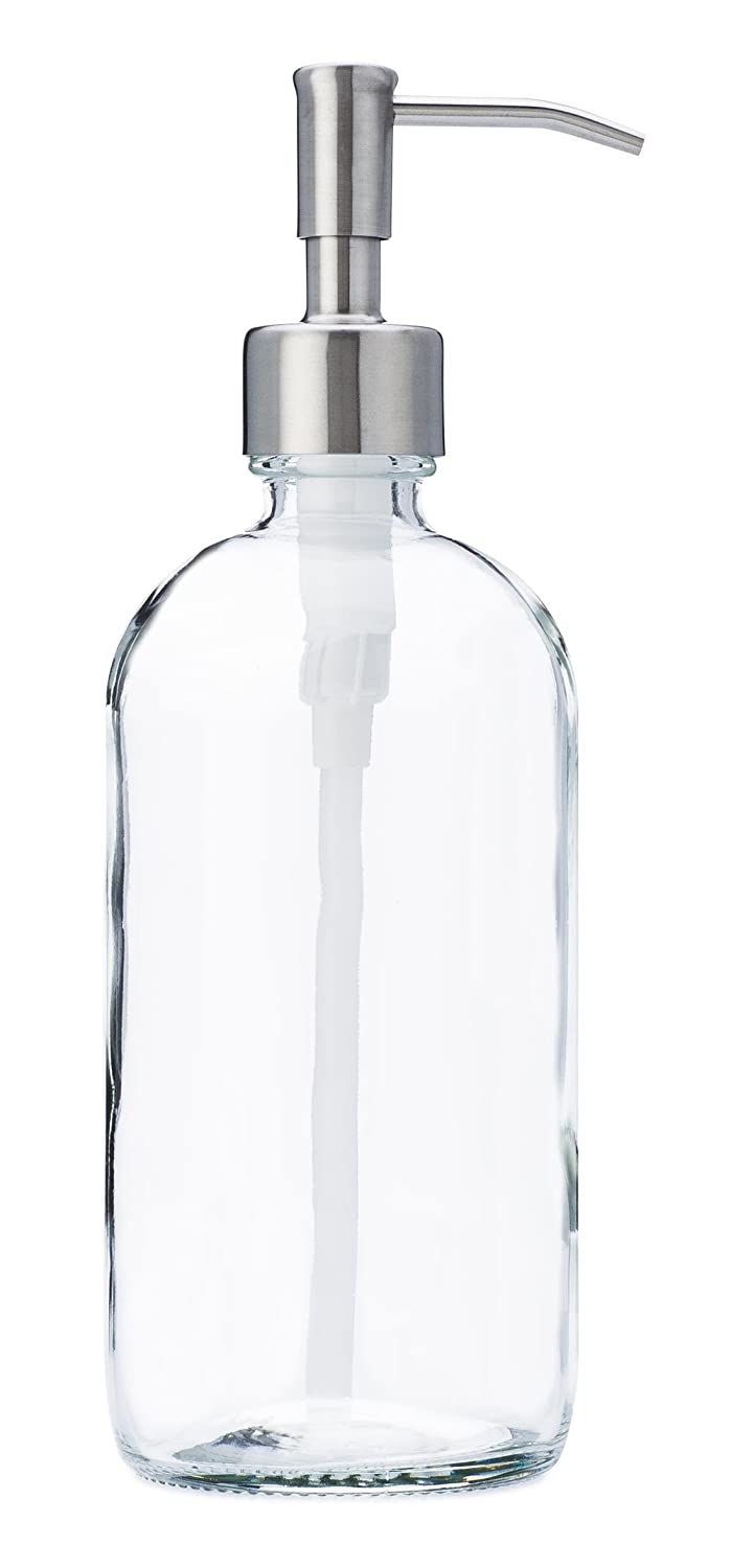 92a2696adf96 Jarmazing Products Clear Glass Jar Soap and Lotion Dispenser with Stainless  Steel Pump - 16 oz