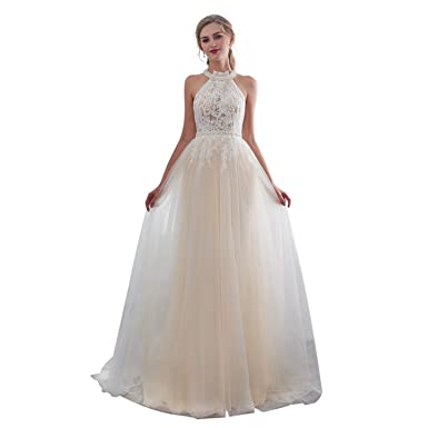 iLovewedding Long Lace Evening Gowns Halter Neck A_Line Prom Dress for Women