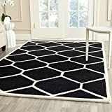 Safavieh Cambridge Collection CAM144E Handcrafted Moroccan Geometric Black and Ivory Premium Wool Area Rug (5' x 8')