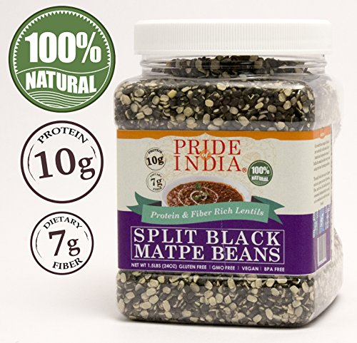 Pride Of India - Indian Split Black Gram Matpe Beans - Protein & Fiber Rich Urad Dal, 1.5 Pound Jar