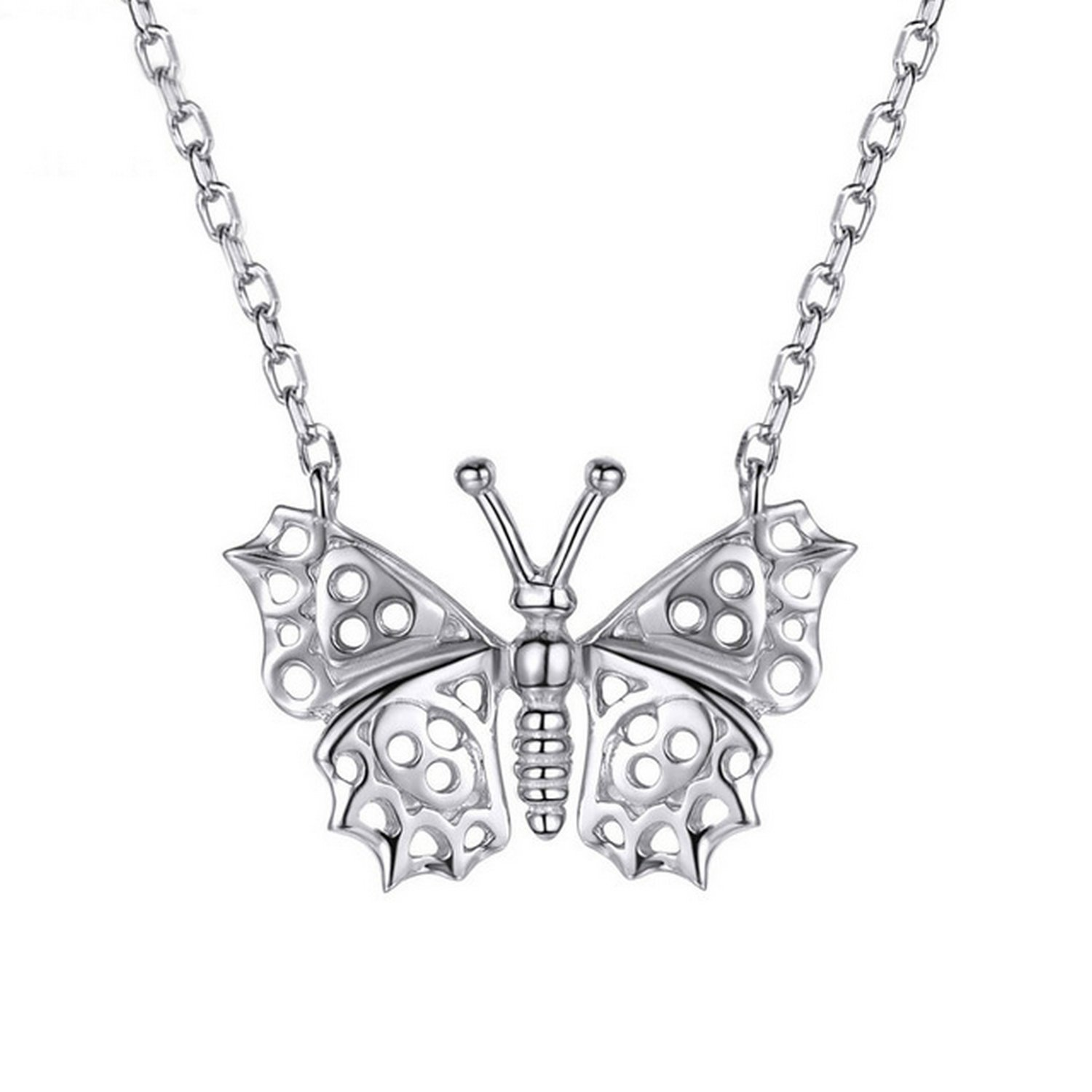CS-DB Jewelry Silver Butterfly Lovely Chain Charm Pendants Necklaces