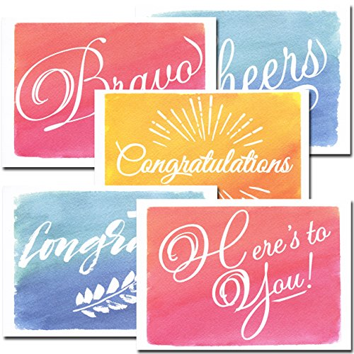 Congratulations Cards: Colorful Assortment – 30 Boxed Blank Note Cards + 32 Envelopes by CroninCards (Boxed Assortment)