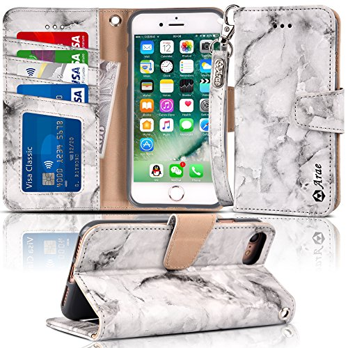 Arae Wallet Case for iPhone 7/8, Gray Marble Design PU Leather Wallet Case with Kickstand and Flip Cover for iPhone 7 / iPhone 8 [4.7 inch]