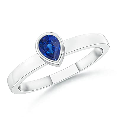 Angara Solitaire Pear Blue Sapphire Promise Ring in Platinum kcZx8vR