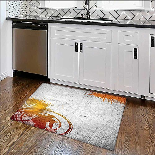 Easy To Store Rug Streetball and Paint Stains on Concrete Wall Rustication Charcoal Orange Soft, Non-slip W39