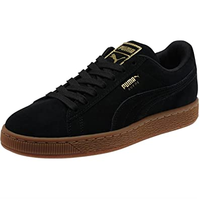 97b8aee8b71d Puma Womens Suede Classic Gold Trainers in Black Metallic Gold ...