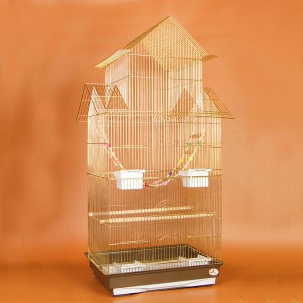 JiaYue Luxury100 de Alta Temperatura de Cromo Metal Jaulas para Pájaros de Oro de Color de Gran Tamaño 47.5x36x100CM, Golden Color, Set 1