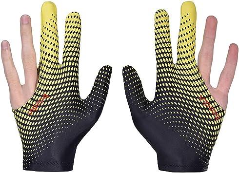 Antcher 2 Guantes de Billar de Lycra elástica, 3 Dedos, para Billar y Billar, para Mano Izquierda y Derecha, Amarillo: Amazon.es: Deportes y aire libre