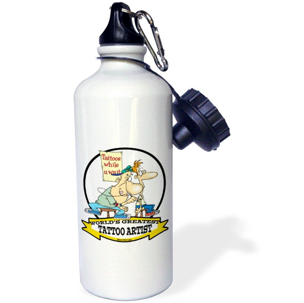 21 oz 3dRose wb/_103604/_1Funny Worlds Greatest Tattoo Artist Occupation Job Cartoon Sports Water Bottle White
