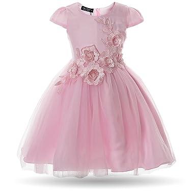 Cielarko Girls Dress Flower Appliques Sleeveless Summer Princess Party Kids Ball Gown 2-10 Years