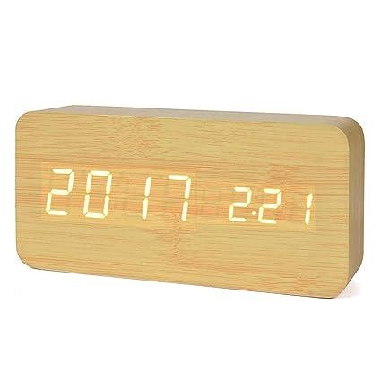 Reloj Digital Despertador de Madera con Control de Sonido y LED Brillo de la Pantalla,