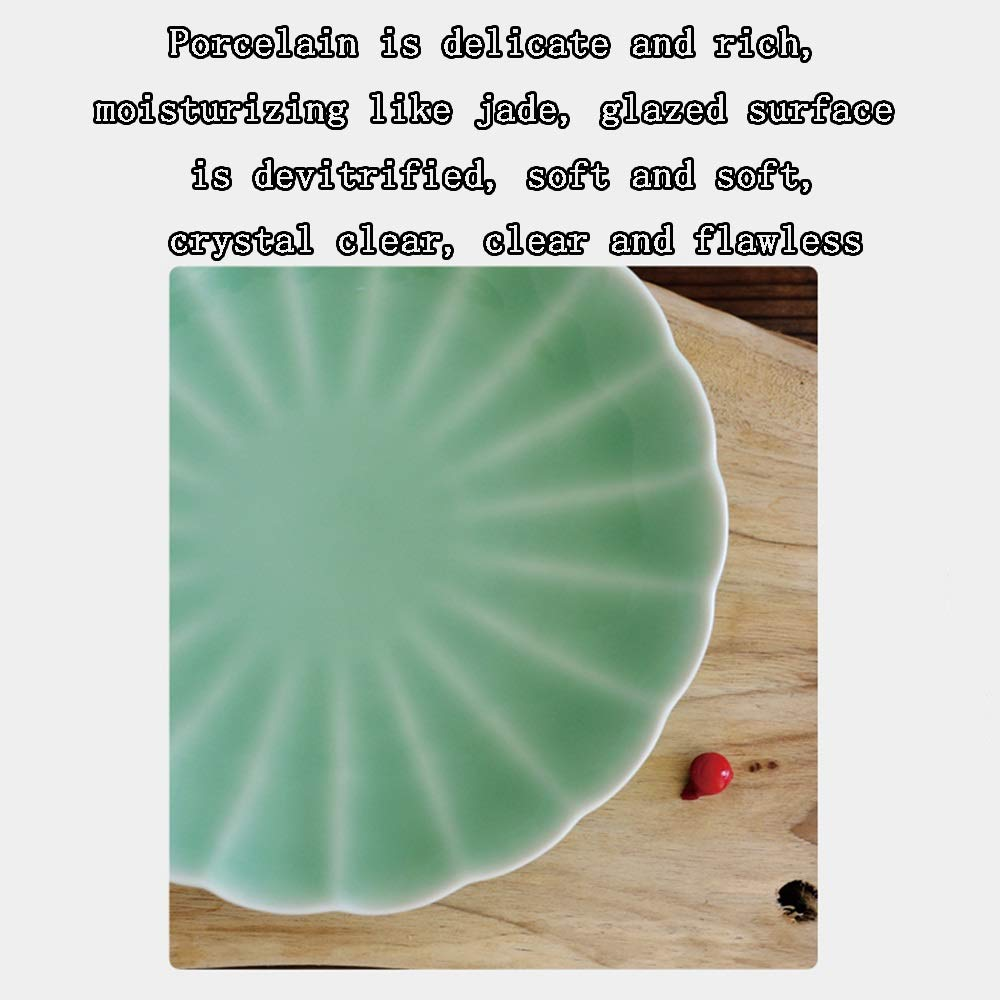 Celadon Dish Household 8 Inch Ceramic Household Dish Creative Personality Fruit Plate Dish (Design : B) by Porcelain plate (Image #2)
