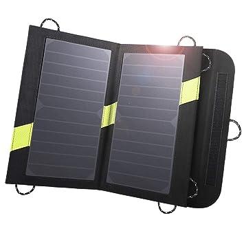 X-DRAGON Cargador Panel Solar 14W (Dual USB Puertos, Inteligente IC, A Prueba De Agua, En Acero Inoxidable) Placa Batería Plegable para Móviles, ...