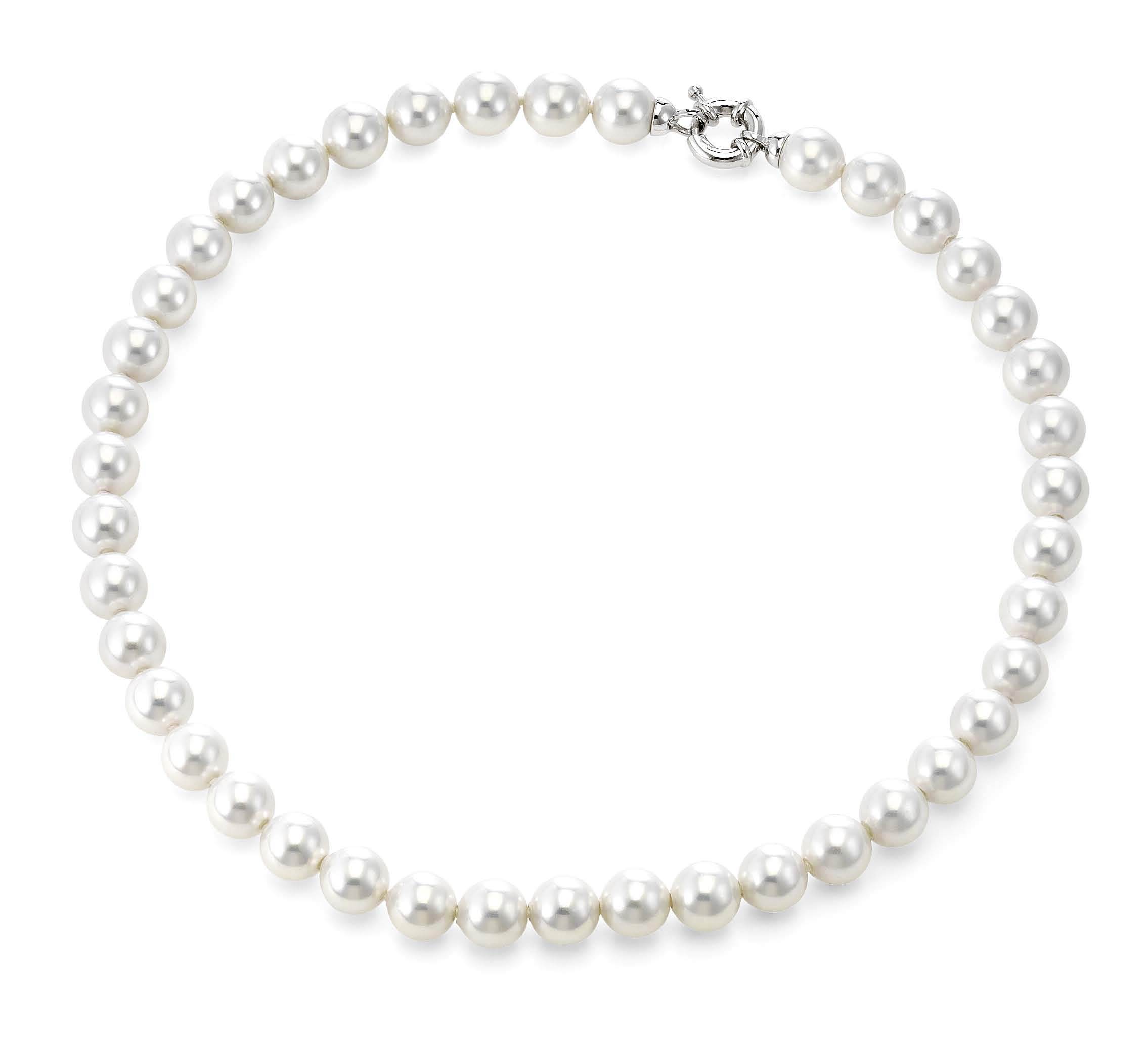 Joia De Majorca, 10mm Man-Made White Pearl Necklace with Rhodium Euro Clasp, 18 inch, Organic Man-Made Strand of Pearls from Majorca Spain by JOIA DE MAJORCA