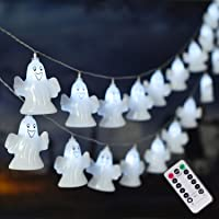 ILLUMINEW 30 LED Halloween Ghost String Lights, Battery Operated Halloween Lights with Remote, 8 Modes Fairy Lights…