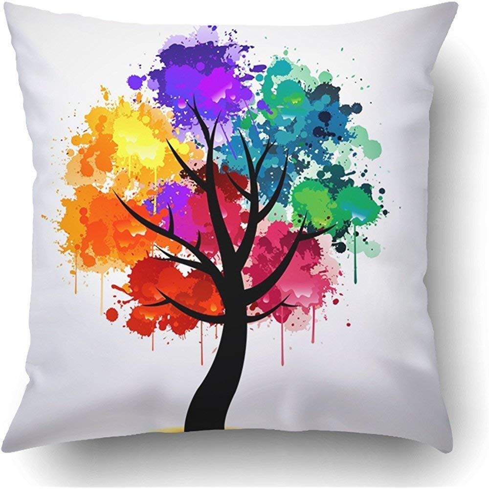 Amazon.com: Staropor Throw Pillow Covers Color Colorful Tree Creative Abstract Ink Rainbow Paint Nature Cool Polyester Square Hidden Zipper Decorative ...