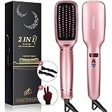 Ionic Hair Straightener Brush, Villsure 30s Fast Heating Ceramic Straightening Brush with 5 Adjustable Temperature, Electric