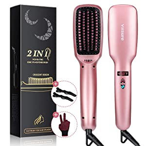 Ionic Hair Straightener Brush, Villsure 30s Fast Heating Ceramic Straightening Brush with 5 Adjustable Temperature, Electric Straightening Comb w/Anti-scald|Auto Temperature Lock|Auto-off