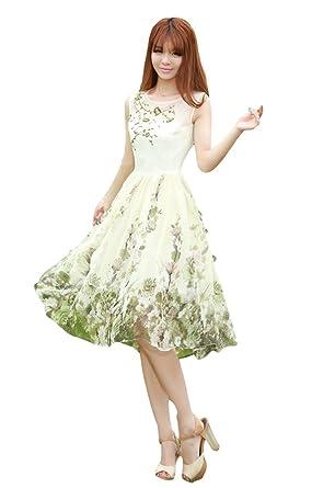 c344e674776bd Amazon.co.jp: - eriira - 上品 花柄 ミディ丈 ワンピース 刺繍 ...