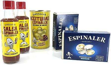 ✅ Pack especial con 2 latas de conservas de Berberechos al Natural, 2 salsas Aperitivo Espinaler y u
