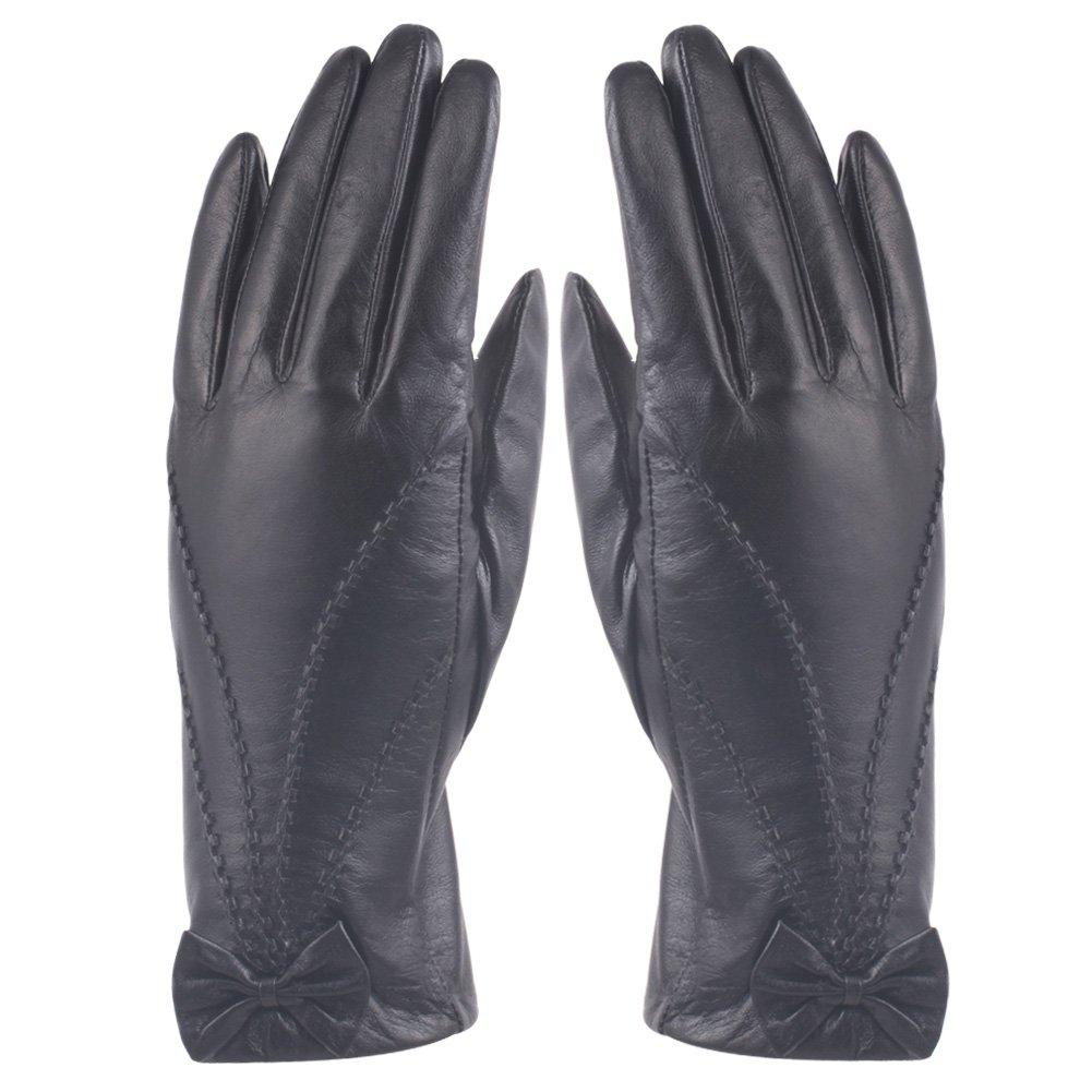 H & jレディースラムスキンレザーCold Weatherグローブバタフライレザー手袋 B017JSXFYI Medium-7|ブラック ブラック Medium-7