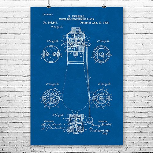 Pull Chain Light Socket Poster Art Print, Lightbulb, Electricity, Engineer, Gift, Patent, Vintage, Wall, Home, Decor Blueprint (24