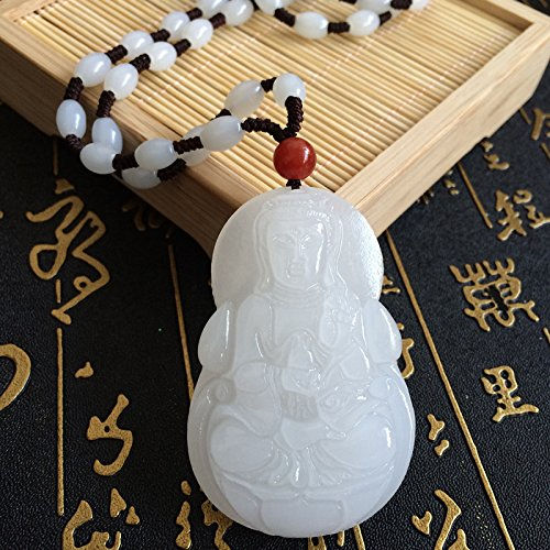 usongs Natural White Jade Goddess Mercy Guanyin necklace pendant Afghan Guanyin auspicious necklace pendant -