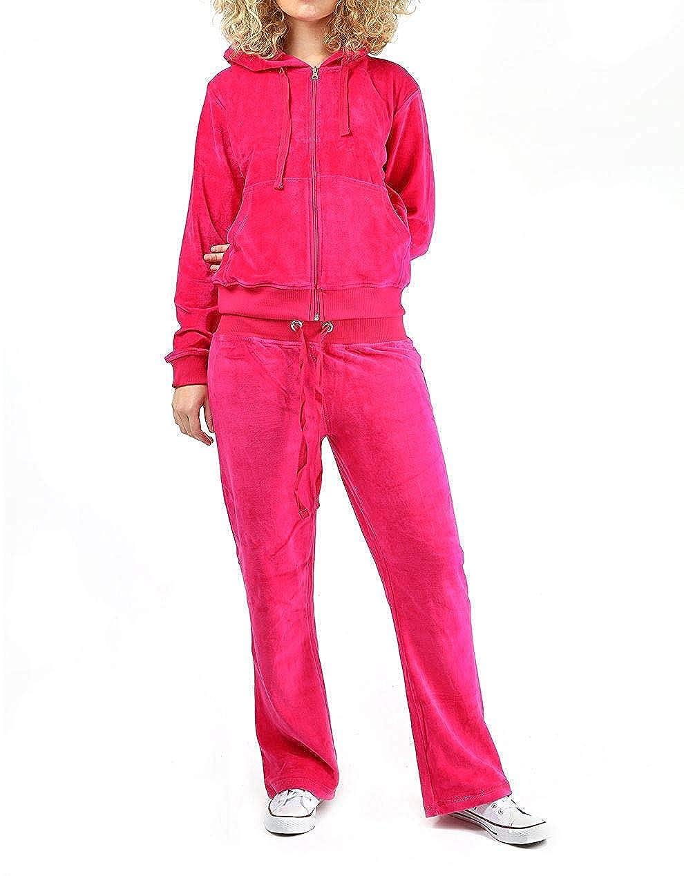 Girls Velour Velvet Like Zip Through Hoody Tracksuits Lounge Jogger Sleepwear Se