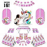 Unicorn Party Supplies Pack for 16 - Balloon, Bags, Cups, Banner & More