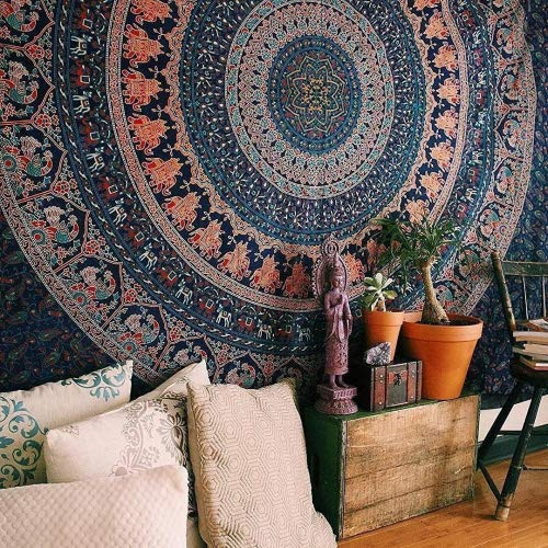 Marubhumi Hippy Mandala Bohemian Tapestry, Indian Dorm Decor, Psychedelic Tapestries Wall Hanging Ethnic Decorative Tapestry (84 x 90 Inches, Neavy Blue Tarquish)