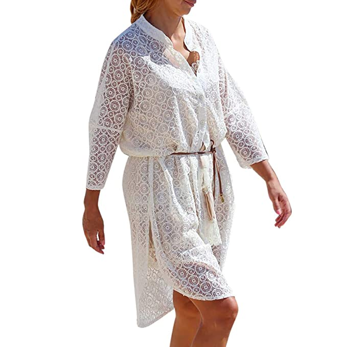 Kind-Hearted Women Fashion Cover Blouse Tops Lace Suit Bikini Swimwear Beach Swimsuit Smock Lace Long Cardigan Low Price Women's Clothing