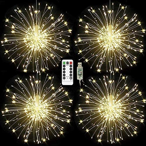 Homly Firework Lights USB Powered Starburst String Lights 120 led Copper Wire Fairy Lights with 8 Modes and Remote Control, Waterproof Hanging Lights for Christmas Party Holiday Decoration 4 Pack