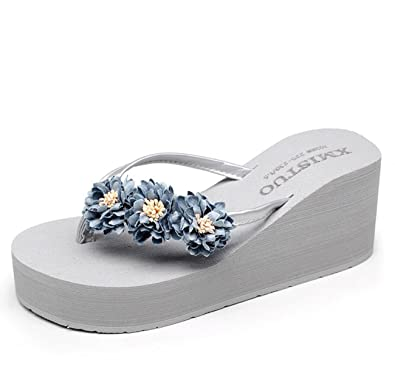 3d5d4cefab50e DANDANJIE Womens Flip Flops Daisy Platform Wedge Sandals Bohemia Foam High  Heel Beach Slippers Summer Shoes