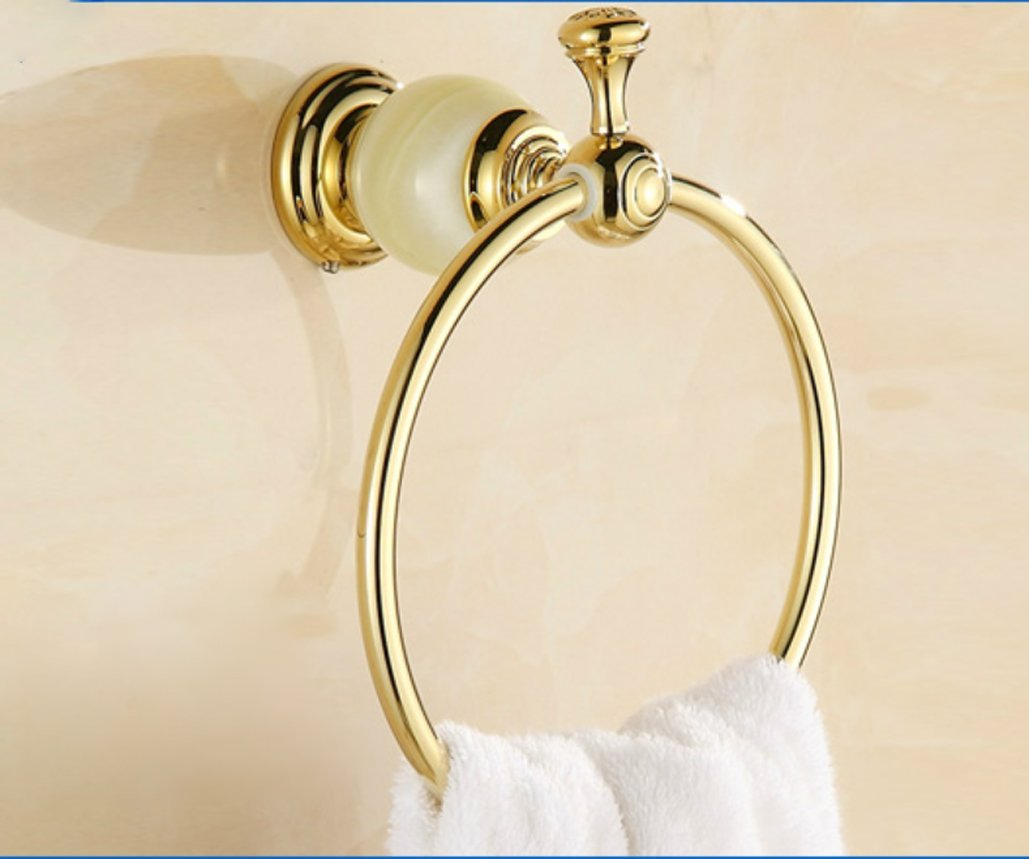 Edge To All copper round white gold luxury marble bathroom towel ring towel hanging bracket