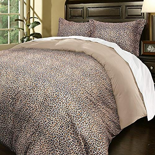 3 Piece Full Queen Leopard Print Duvet Cover Set, Luxurious Wild Animal Pattern, Safari Themed Bedding Warm Tan Color, Stylish and Rich, Khaki Brown, Microfiber Soft, African - Leopard Duvet Print Covers