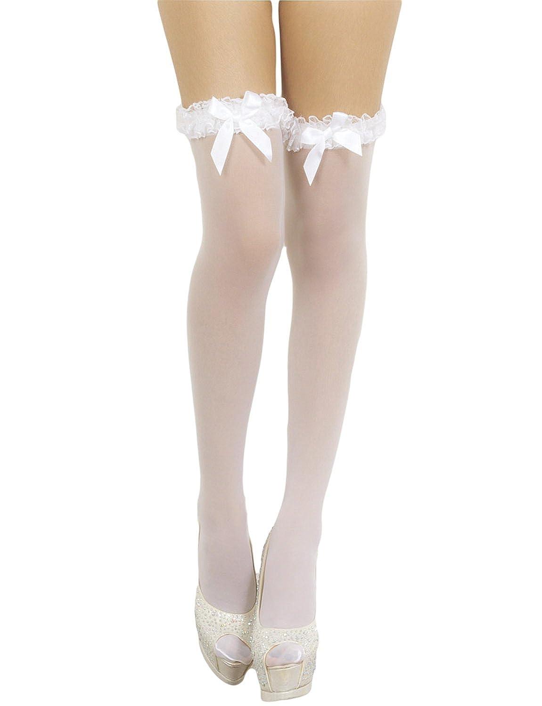 iB-iP Women's White Mesh seamless stylish bow sheer Thigh High Hold-up Stockings, Size: One Size, White ISHO11CT1309HSWI