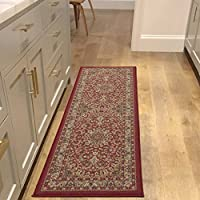 Sweet Home Stores Medallion Design Non-Slip Rubber Backing Runner Rug, 20 X 59, Red