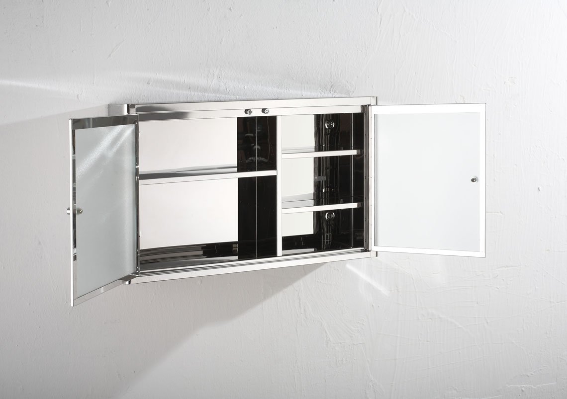 Clickbasin Bathroom Mirror 2 Door Bathroom Storage Cabinet 500mm x 310mm NANCY Moda