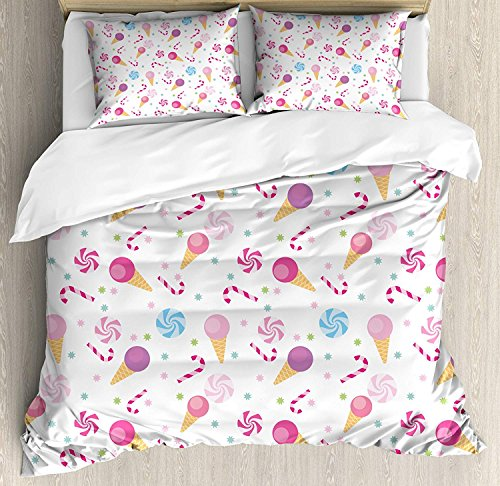 Teather Kids 4 Piece Bedding Duvet Cover Sets with Zipper Closure - Full Luxury Soft Lightweight Brushed Microfiber, Sweets Pattern with Ice Cream Cones and Candy Stars Design Abstract Desserts Food