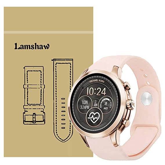 Compatible for Michael Kors Runway Band, Lamshaw Sport Silicone Replacement Strap for Michael Kors Access Runway Smartwatch (Pink)