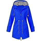 Vertvie Dames outdoorjas, waterdichte regenjas met capuchon, windbreaker, overloopjas, lange jas, ademend, lichte mantel…