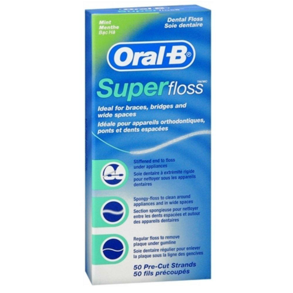 Oral-B Super Floss Mint Dental Floss Pre-Cut Strands 50 ea (Pack of 18) by Oral-B