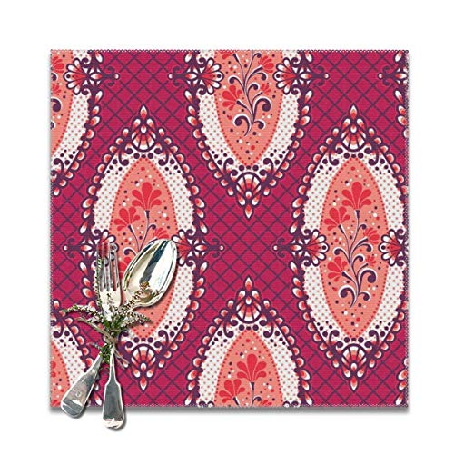 (Miliface Placemats Set of 6 for Dining Table Calais-Framed Flowers_2821 Heat Resistant Kitchen Table Mats)