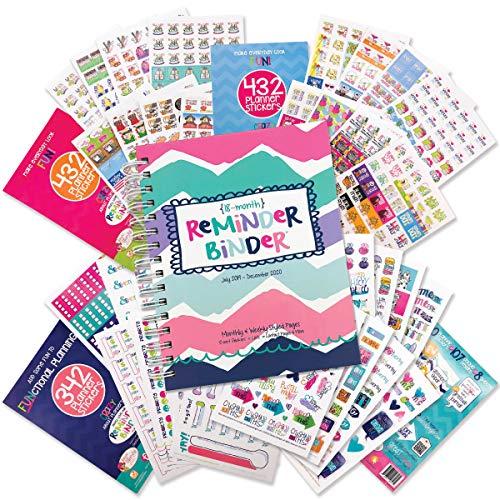 Reminder Binder 18-Month Planner & Variety Sticker Set - Weekly & Monthly Horizontal Layout, 6.5